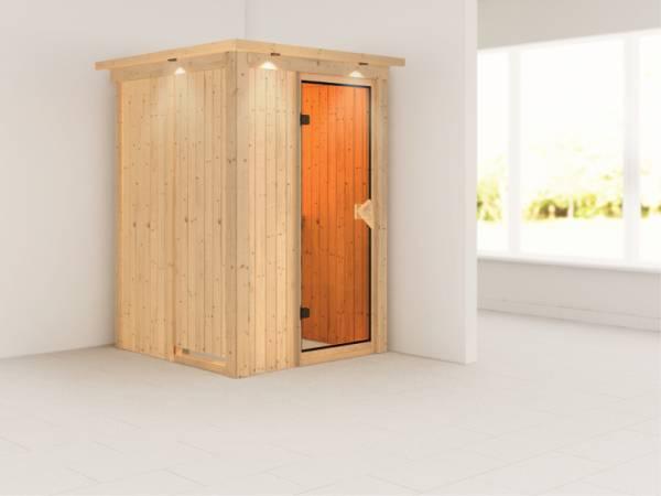 Lenja - Karibu Sauna Plug & Play ohne Ofen - mit Dachkranz -