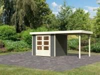 Karibu Woodfeeling Gartenhaus Askola 3 in terragrau mit Anbaudach 2,40 Meter