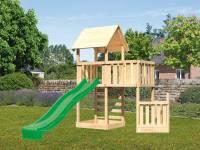 Akubi Spielturm Lotti + Schiffsanbau unten + Anbauplattform + Kletterwand + Rutsche in grün