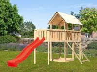 Akubi Spielturm Danny Satteldach + Rutsche rot + Anbauplattform XL + Netzrampe