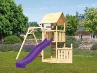 Akubi Spielturm Lotti + Schiffsanbau unten + Einzelschaukel + Rutsche in violett + Kletterwand