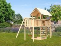 Akubi Spielturm Danny Satteldach + Einzelschaukel + Anbauplattform + Kletterwand