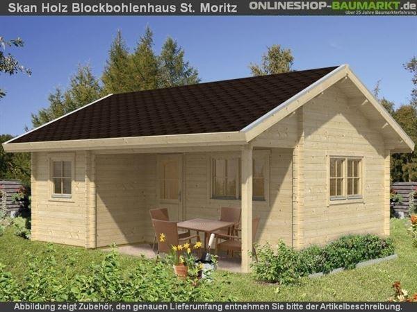 Skan Holz Blockbohlenhaus St. Moritz, Dach dämmbar für Dachschindeln, 45plus, 600 x 500 cm
