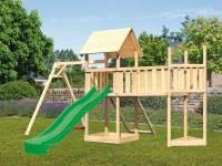Akubi Spielturm Lotti Satteldach + Schiffsanbau oben + Einzelschaukel + Anbauplattform XL + Netzrampe + Rutsche in grün