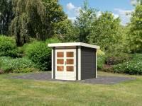 Karibu Woodfeeling Gartenhaus Kandern 1 in terragrau 28 mm
