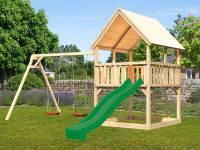 Akubi Spielturm Luis Satteldach + Rutsche grün + Doppelschaukel