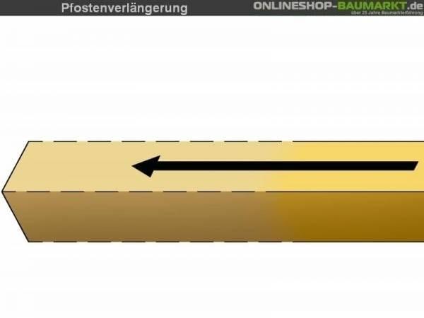 Pfostenverlängerung auf Länge 295 cm für 2 Pfosten