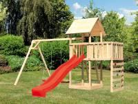 Akubi Spielturm Lotti Satteldach + Rutsche rot + Doppelschaukel + Anbauplattform + Kletterwand