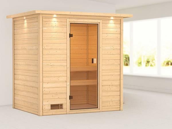 Karibu Woodfeeling Sauna Selena mit Dachkranz 38 mm