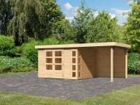 Karibu Woodfeeling Gartenhaus Kerko 5 natur mit Anbaudach 2,40 m inkl. Rückwand