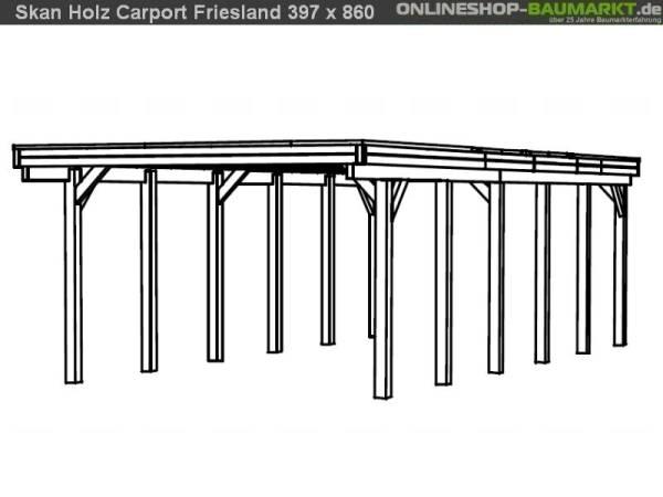 Skan Holz Carport Friesland 397 x 860 cm