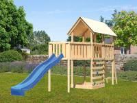 Akubi Spielturm Danny Satteldach + Rutsche blau + Anbauplattform XL + Kletterwand