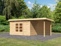 Karibu Woodfeeling Gartenhaus Kandern 7 mit Anbaudach 2,6 Meter inkl. Rückwand