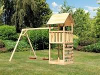Akubi Spielturm Lotti mit Kletterwand und Doppelschaukel