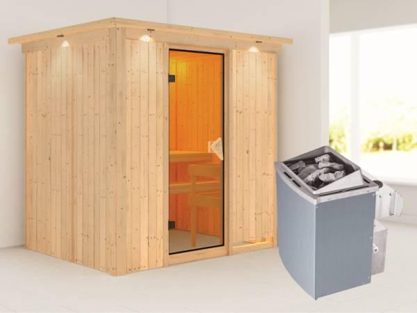 Bodin - Karibu Sauna inkl. 9-kW-Ofen - mit Dachkranz -