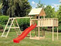Akubi Spielturm Lotti natur mit Anbauplattform XL, Doppelschaukel inkl. Klettergerüst und Rutsche rot