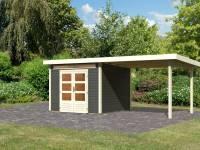 Karibu Woodfeeling Gartenhaus Kandern 6 in terragrau mit Anbaudach 3,2 Meter