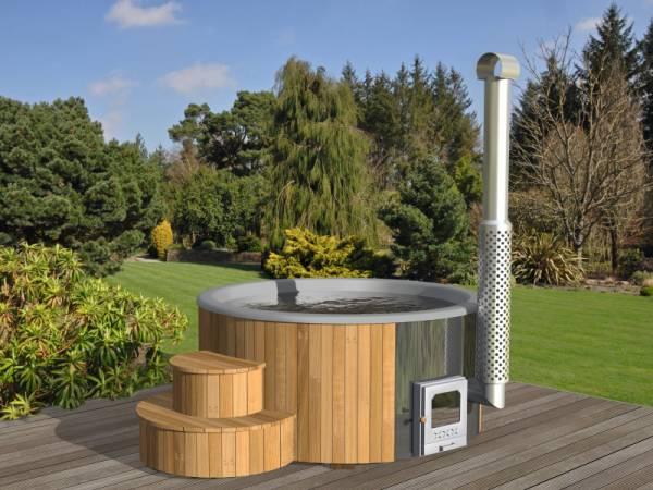 Wolff Finnhaus Badebottich Hot Tub de luxe 200 cm mit grauem KS-Einsatz, integriertem Ofen und Thermoabdeckung.