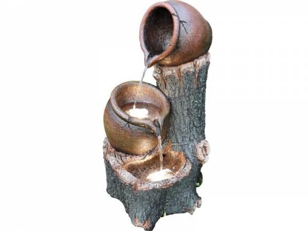 Granimex Bidon Baumstammbrunnen - inkl. Pumpe und LED-Beleuchtung