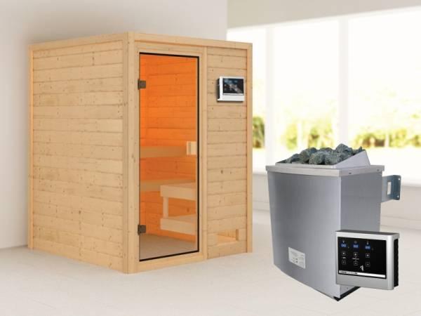 Karibu Woodfeeling Sauna Sandra mit 9 kW Ofen ext. Strg
