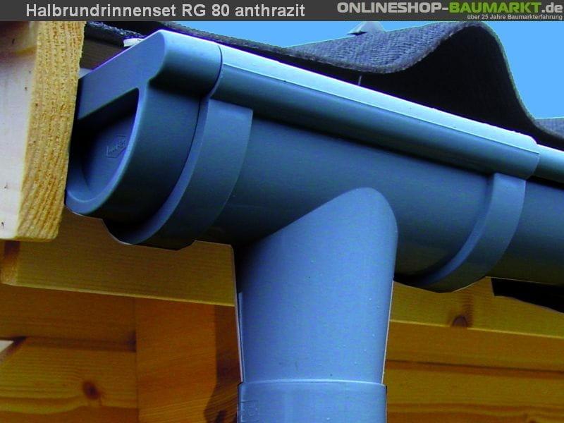 Dachrinnen Set RG 80 anthrazit 400x200 cm 8-Eck-Da
