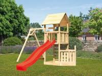 Akubi Spielturm Lotti + Schiffsanbau unten + Einzelschaukel + Rutsche in rot + Kletterwand