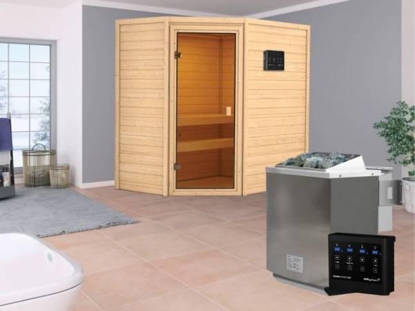 Karibu Aktionssauna Dolf mit 4,5 kW BIO-Ofen ext. Strg. ohne Dachkranz