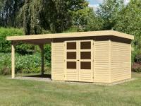 Karibu Woodfeeling Gartenhaus Askola 5 mit Anbaudach 2,75 Meter