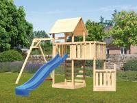 Akubi Spielturm Lotti + Schiffsanbau unten + Anbauplattform + Kletterwand + Einzelschaukel + Rutsche in blau