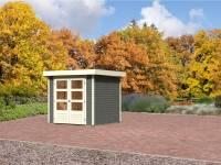Karibu Aktion-Gartenhaus Jever 2 terragrau 19 mm mit Fußboden und Dacheindeckung