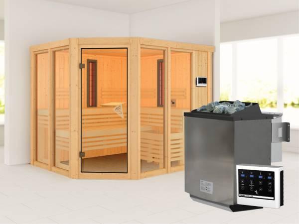 Karibu Multifunktions-Sauna Ava mit 9 kW Bioofen und Infrarotstrahler