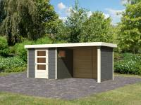 Karibu Woodfeeling Gartenhaus Oburg 2 terragrau mit Anbaudach 2,8 Meter inkl. Rück-und Seitenwand