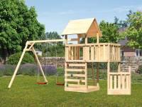 Akubi Spielturm Lotti + Schiffsanbau unten + Anbauplattform + Doppelschaukel + Kletterwand