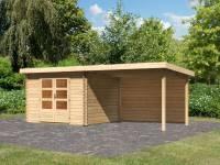 Karibu Woodfeeling Gartenhaus Bastrup 5 mit Anbaudach 3 Meter inkl. Rückwand