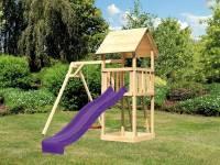 Akubi Spielturm Lotti mit Einzelschaukel und Rutsche violett