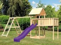 Akubi Spielturm Lotti natur mit Anbauplattform XL, Doppelschaukel inkl. Klettergerüst und Rutsche violett
