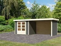 Karibu Woodfeeling Gartenhaus Askola 3 in terragrau mit Anbaudach 2,80 Meter, Seiten- und Rückwand