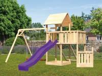 Akubi Spielturm Lotti + Schiffsanbau unten + Anbauplattform + Doppelschaukel + Netzrampe + Rutsche violett