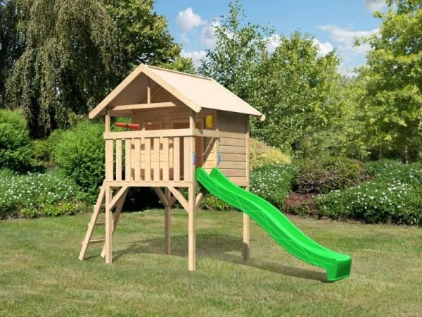 Akubi Spielhaus Leni mit Rutsche in grün und Spielset