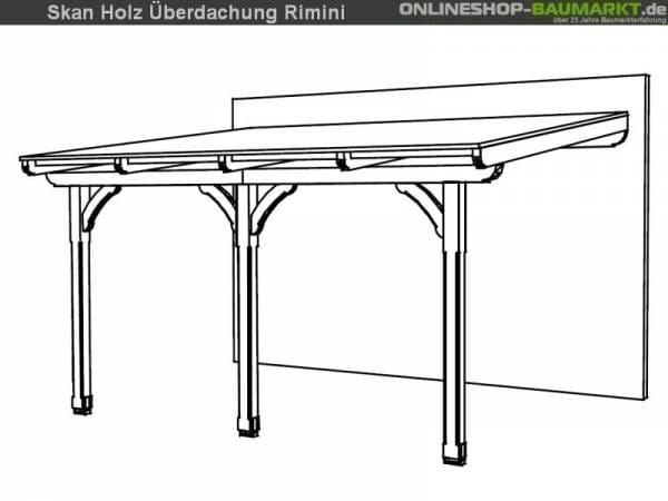 Skan Holz Terrassenüberdachung Rimini 434 x 350 cm Douglasie