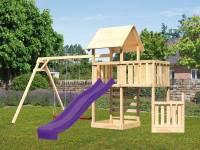 Akubi Spielturm Lotti + Schiffsanbau unten + Anbauplattform + Doppelschaukel + Kletterwand + Rutsche violett