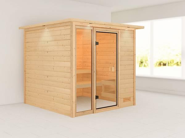 Karibu Woodfeeling Sauna Jutta mit Dachkranz 38 mm