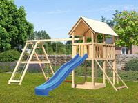 Akubi Spielturm Danny Satteldach + Rutsche blau + Doppelschaukelanbau Klettergerüst + Netzrampe