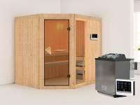 Fiona 2 - Karibu Sauna inkl. 9-kW-Bioofen - ohne Dachkranz -