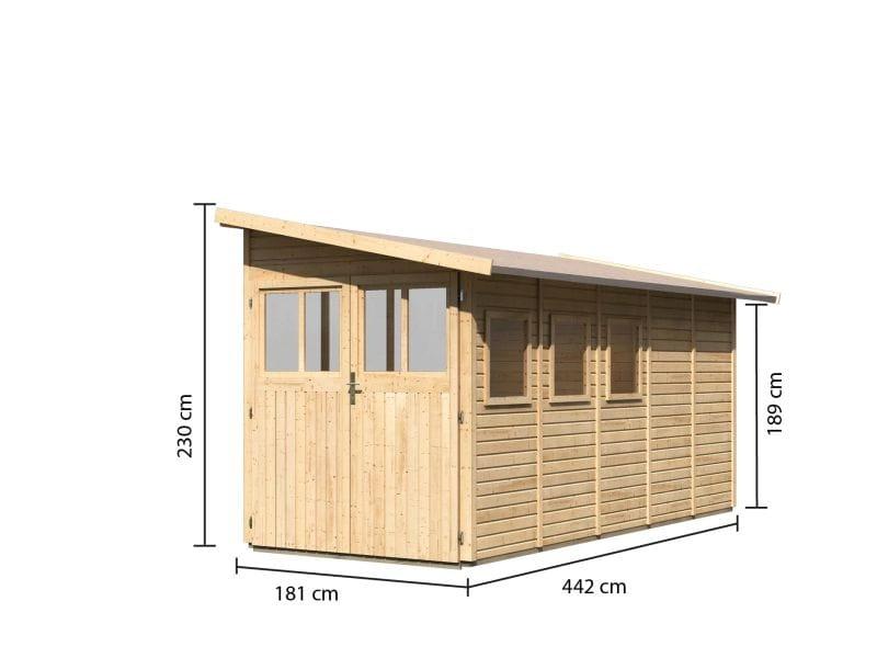 karibu gartenhaus juist 5 natur 19 mm kleines kompaktes. Black Bedroom Furniture Sets. Home Design Ideas