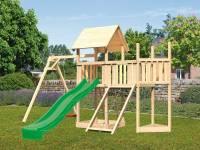Akubi Spielturm Lotti Satteldach + Schiffsanbau oben + Anbauplattform + Einzelschaukel + Netzrampe + Rutsche in grün