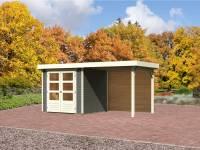 Karibu Gartenhaus Jever 2 in terragrau mit Fußboden und Anbaudach 2,40 m, Rückwand