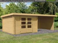 Karibu Woodfeeling Gartenhaus Bastrup 4 mit Schleppdach 3 Meter, Rück- und Seitenwand