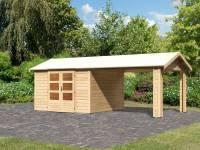 Karibu Woodfeeling Gartenhaus Tastrup 7 mit einem Dachanbau 3,00 Meter