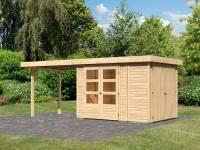 Karibu Woodfeeling Gartenhaus Retola 2 natur mit Anbauschrank und 2,80 Meter Anbaudach